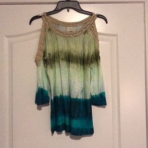 Chico's blue green ombré blouse, size 1, NWT